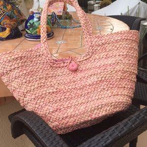 Pink Rattan Beach Bag